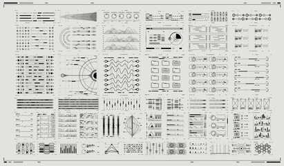 Set of Sci Fi Modern User Interface Elements. Infographic elements. Futuristic virtual graphic. HUD UI for Business App. Digital dashboard panel illustration. Abtract Header Status Bar.