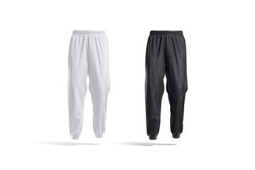 Fototapeta Blank black and white sport sweatpants mockup, front view obraz