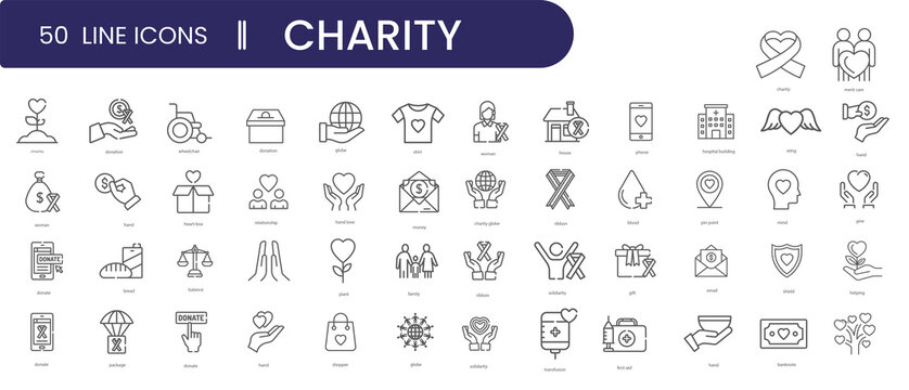 50 set of charity and donation icon set, line style.