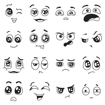 Doodle emotions set. Happy and sad, crying and in love facial expressions. Surprised, confused emoji