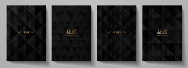 Fototapeta Modern black blank background design set. Abstract creative geometric pattern (digital geometric texture) in monochrome. Graphic vector background for notebook, business page template, presentation obraz