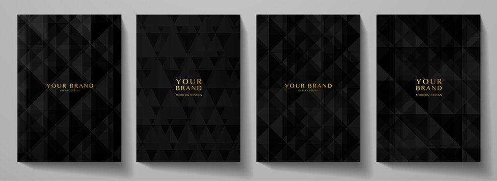 Modern black blank background design set. Abstract creative geometric pattern (digital geometric texture) in monochrome. Graphic vector background for notebook, business page template, presentation