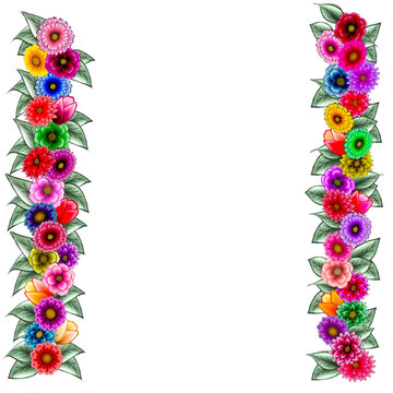 rows of miscellaneous flowers