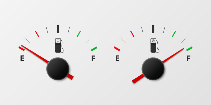 Vector 3d Realistic White Gas Fuel Tank Gauge, Oil Level Bar on White Background. Full and Empty. Car Dashboard Details. Fuel Indicator, Gas Meter, Sensor. Design Template
