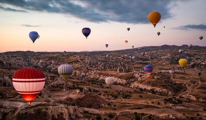 Top view of hot air balloon festival in Cappadocia, Turkey