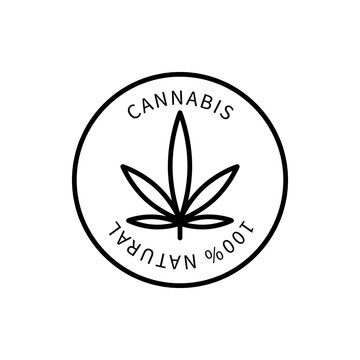 Line Icon Cannabis In A Simple Style. Vector sign in a simple style isolated on a white background. Original size 64x64 pixels.