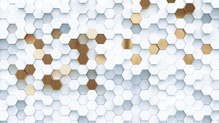Obraz Abstract luxury background with golden hexagons. 3d rendering. - fototapety do salonu