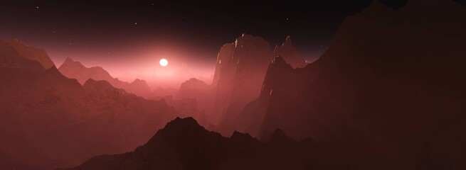 Mars at sunset, panorama of Mars, alien landscape, a panorama of a surface of another planet, 3D rendering