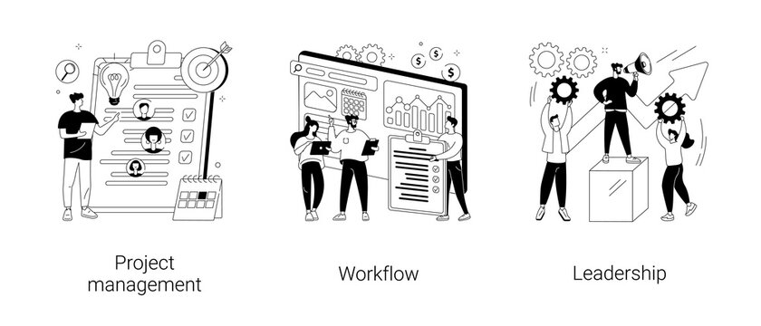Business management abstract concept vector illustrations.