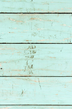 Aquamarine painted wooden plank backdrop. summer. copy space