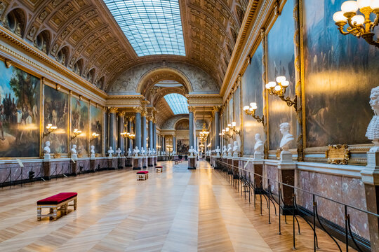 VERSAILLES, FRANCE - February 14, 2018 :The Battle Gallery in the southern wing of Palace of Versailles, the residence of the sun king Louis XIV