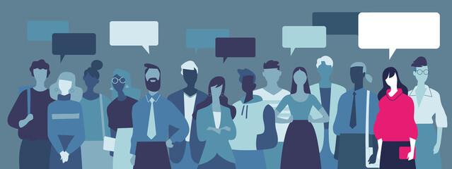 Fototapeta Gruppo di giovani uomini e donne che discutano le loro opinioni obraz