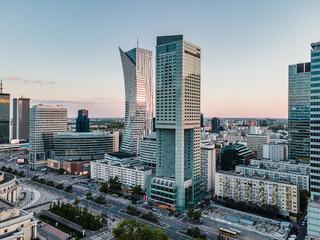 Obraz Warszawa - Centrum miasta z lotu ptaka - fototapety do salonu