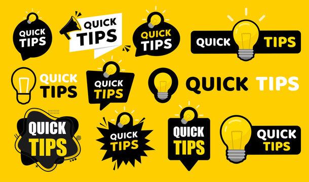 Quick tips badge. Vector illustration