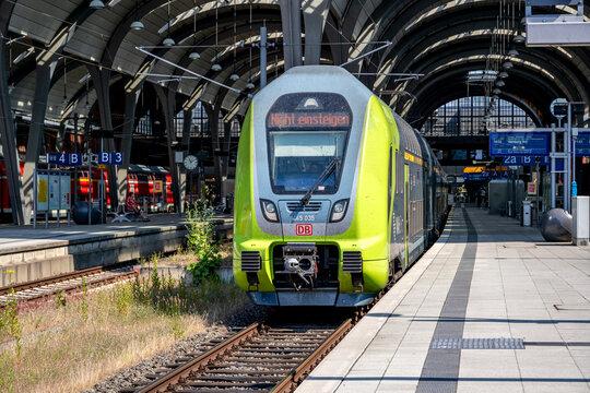 KIEL, GERMANY - JUNE 17, 2021: DB Regio Bombardier Twindexx Vario train in NAH.SH livery at Kiel main station