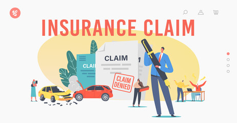 Obraz Characters Claim Insurance Landing Page Template. Male or Female Characters Dispute with Agents for Denied Policy Paper - fototapety do salonu