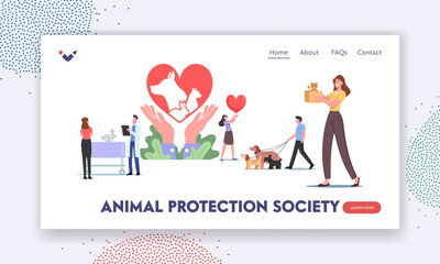 Obraz Animal Protection Society Landing Page Template. Characters Care of Pets, Adopt Cats, Dogs or Rabbits, Visit Vet Clinic - fototapety do salonu