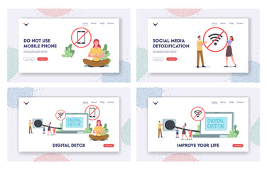 Digital Detox Landing Page Template Set. Tiny Characters Disconnect Laptop Plug Exit Social Networks, Turn Off Gadgets