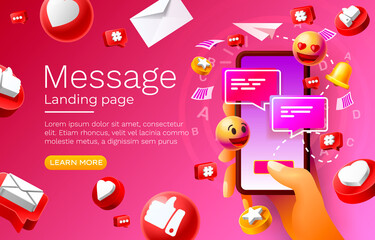Fototapeta Message with many icons, chat for communication of people, landing page. Vector obraz