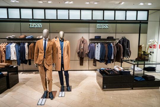 DUSSELDORF, GERMANY - 19 OCTOBER, 2019: Interior shot of Hugo Boss store in Breuninger luxury shopping mall at Schadowplatz in city center Dusseldorf, Germany