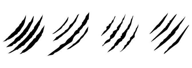 Fototapeta Animal claws scratches icons set. Isolated over white background. Collection of scratched claws. Vector illustration obraz