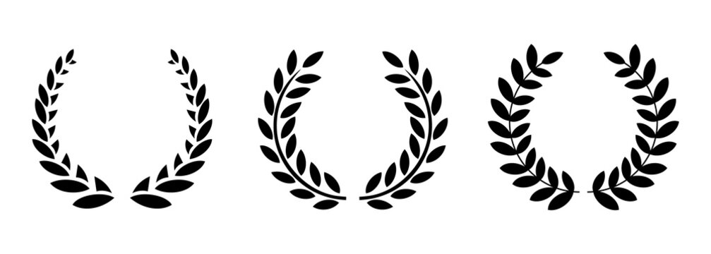 Set black silhouette circular laurel. Silhouette laurel wreath. Vector black laurels set