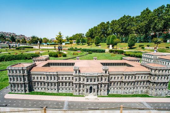 Istanbul, Turkey-July 12, 2017: reduced replica of the Itu Macka Campus. Miniaturk Park is located in Istanbul
