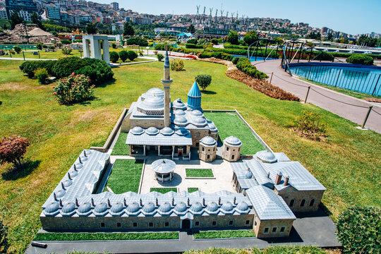 Istanbul, Turkey-July 12, 2017: exact copy Mausoleum of Mevlana in miniaturk Park