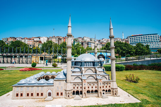 Istanbul, Turkey-July 12, 2017: exact copy Selimiye mosque in miniaturk Park