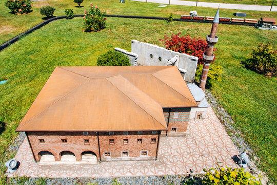 Istanbul, Turkey-July 12, 2017: exact copy Haci Bayram mosque Ankara in miniaturk Park