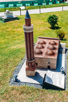 Istanbul, Turkey-July 12, 2017: exact copy of the Chamfered minaret mosque in miniaturk Park in reduced form