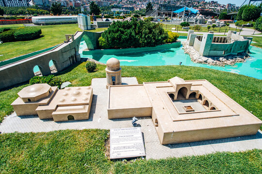 Istanbul, Turkey-July 12, 2017: exact copy of the Zeynel Bey mausoleum in miniaturk Park in reduced form