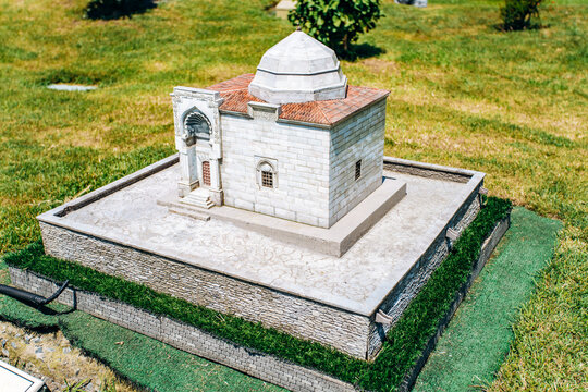 Istanbul, Turkey-July 12, 2017: exact copy of the Kirsehir Asik Pasha Tomb in miniaturk Park in reduced form