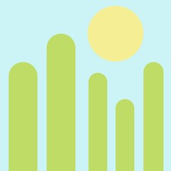 Fototapeta terrain, icon, botany, adventure, art, season, sunny, morning, sunlight, tourism, sunrise, fog, sunset, cloud, natural, tree, hill, forest, travel, landscape, sunshine, flat, banner, fence, white, gra obraz