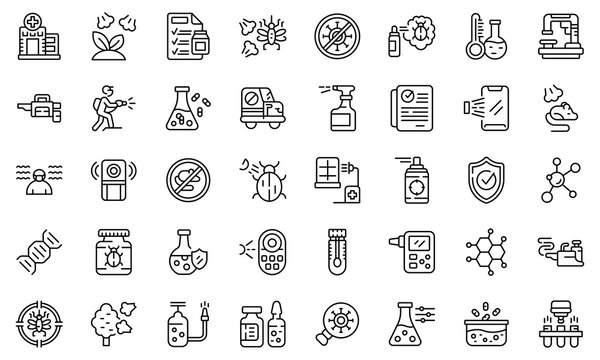 Chemical control icons set outline vector. Quality test. Water safety
