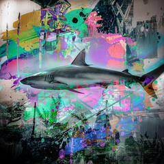 shark silhouette with colorful splashes on white background