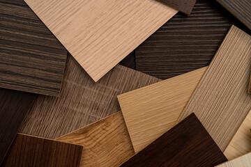Fototapeta vinyl  wooden  samples with different  type of wood texture obraz