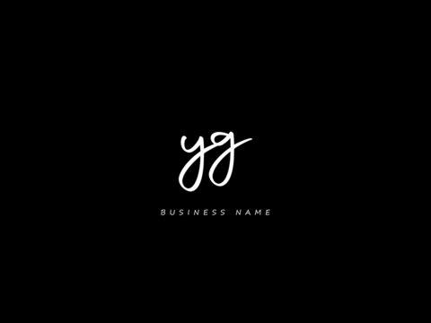 Letter YG Logo, Black signature yg logo icon vector image for business