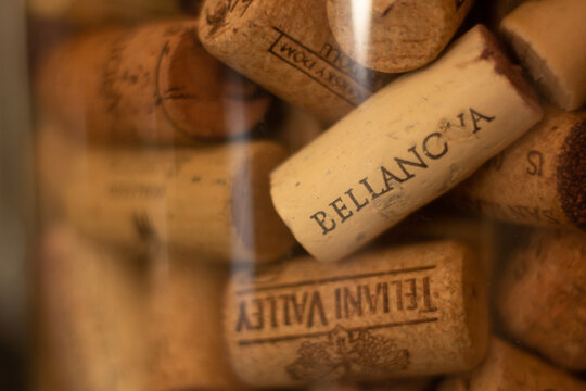 Katowice, Poland – July 10, 2021: Collection of wine corks in a jar.