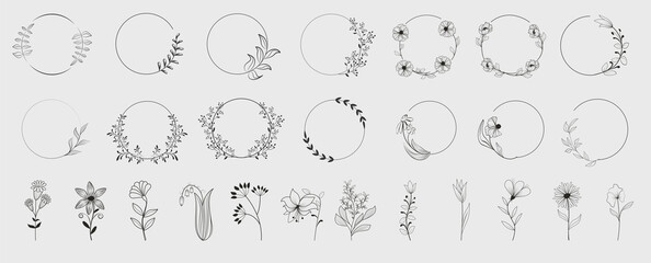 Fototapeta Decorative round floral frames made of blooming flowers hand drawn with contour lines on white background. Vintage laurel wreaths collection. Set of circular natural design element.Vector illustration obraz