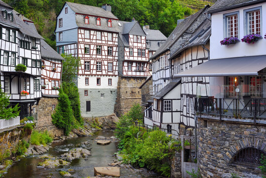 Medieval half-timbered houses in Monschau town, Germany