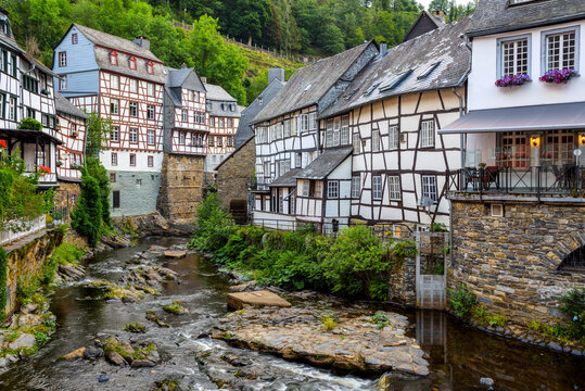 Historical half-timbered houses in Monschau town, Germany