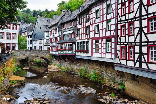 Medieval fachwerk houses in Monschau Old town, Germany,