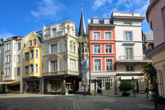 Colorful houses in the Old town of Aachen, Germany