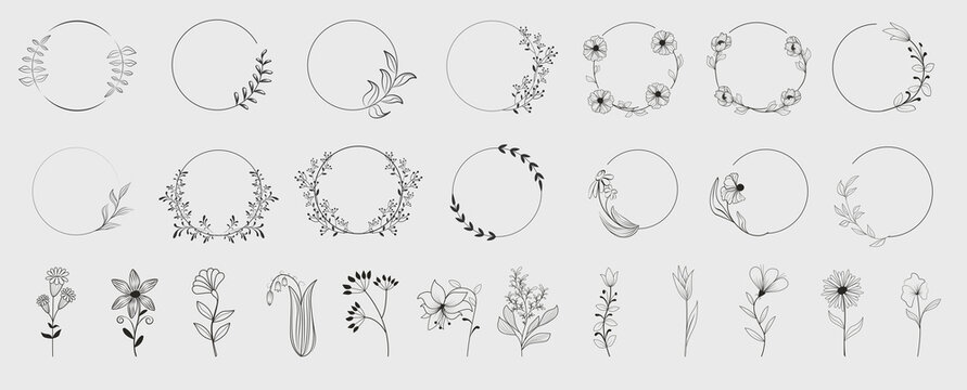 Decorative round floral frames made of blooming flowers hand drawn with contour lines on white background. Vintage laurel wreaths collection. Set of circular natural design element.Vector illustration