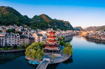 Dusk scenery of Zhenyuan ancient town, Guizhou Province, China