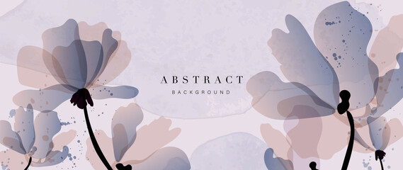 Fototapeta Abstract art flower background vector. Luxury minimal style wallpaper with golden line art floral and botanical leaves, Tulip, rose, Spring growing flowers and Organic shapes watercolor.  obraz