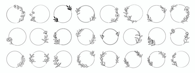 Fototapeta Laurels frames branches with circle borders vector collection. Vintage floral wreaths with leaves , flower, herb, swirls, ornate.Decorative elements for logo, wedding invitation, banner, packaging obraz
