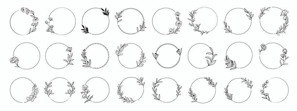 Laurels frames branches with circle borders vector collection. Vintage floral wreaths with leaves , flower, herb, swirls, ornate.Decorative elements for logo, wedding invitation, banner, packaging