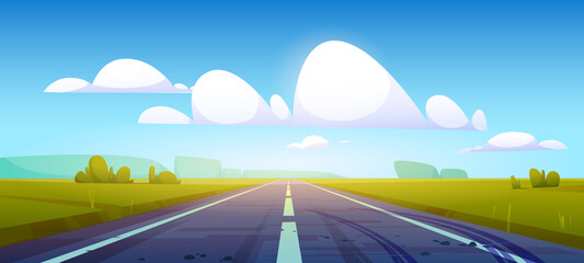 Obraz Car road in fields with green grass and forest on horizon. Vector cartoon illustration of summer countryside landscape with meadows, clouds in blue sky and highway with tire tracks on asphalt - fototapety do salonu